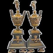 REDUCED Antique French Bronze Marble Garniture Urns Vases Cherub Lids Napoleon French Empire