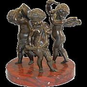SALE Bronze Sculpture Putti Cherubs Musician Marble Base After Clodion