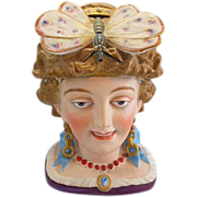 SALE Victorian Maiden Lady Bisque Porcelain Humidor Tobacco Jar Butterfly