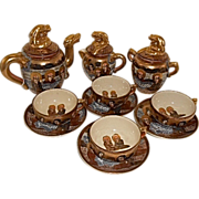 SALE Japanese Meiji Period Satsuma Dragon Ware Pottery Tea Set