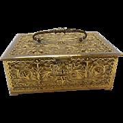 Erhard & Sohne German Art Nouveau Brass Jewelry Casket Box