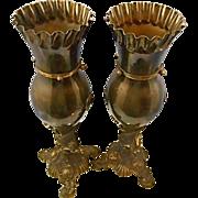 SALE Antique Pr Bradley Hubbard Brass Metal Urns Vase Dolphin Cherub