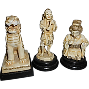 3 Antique German Germany Japanese Porcelain Asian Figurines Carved Ivory Simulation Foo Dog ..
