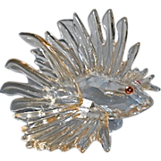 Swarovski Crystal Lion Fish Sculpture Jeweled Eyes
