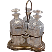 REDUCED Antique Silver Plate Tantalus W 3 Glass Decanters Sheffield Crystal Liquor Bottle