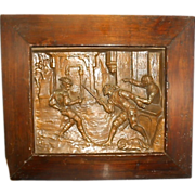 REDUCED Antique French Étienne Alexandre Stella Bronze Relief Wall Plaque Sword Fight W Wood