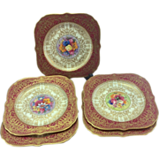 Royal Worcester Square Dessert Plates W H Austin Red Gilt Gilded Hand Painted Flowers