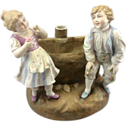 REDUCED Antique Victorian Dresden German Porcelain Planter Boy & Girl