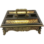 Antique French Empire Napoleon Boulle Inkstand Desk Accessorie W Ormolu Paw Feet Acanthus Leav