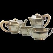SALE 1930's UK English A E Poston & Co Ltd Georgian Style Sterling Silver Tea Set 4 pc