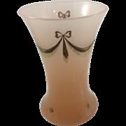 Vintage Art Glass Trumpet Vase Pink Opaline Opalescent W Gilded Enameled Bows and Garland