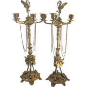 SALE Pr French Antique Bronze Candelabra Aesthetic Empire Style Crane On Turtle Finial Gothic