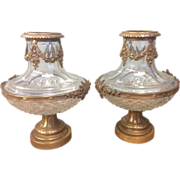 SOLD Pair Antique French Cut Crystal Glass Urn Mounted Bronze Ormolu