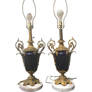 SALE Pair French Antique Sevres Style Cobalt Porcelain Gilt Bronze Ormolu Oil Lamps Electrifie