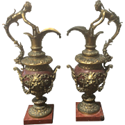 SALE Pair Antique French Gilt Bronze Rouge Red Marble Ewers Urns W Caryatids Bacchus Mask ...