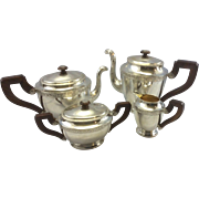 SOLD Antique German 800 Hanau Continental Silver Gebruder Friedlander Tea Set Germany Bird Mot