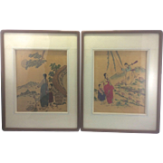 Vintage Pair Asian Korean Framed Silk Embroidered Embroidery Panel Scene Lady & Young Girl