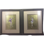 Erte Pair Original 1979 Gouache Paintings Paris Ballet de Roland Petit Dancers Gold Background