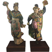 SALE Pair Large Signed Koji Vintage 20th Century Chinese Roof Tile Man & Woman Porcelain Ceram