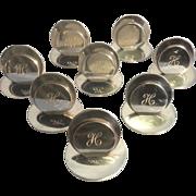 8 Antique Solid Sterling Silver Menu Name Card Holders Sampson Mordan & Co England Monogrammed