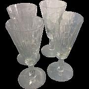 4 Art Deco Libbey Glass Lucerne Stem Architectural Skyscraper Wine Champagne Flutes Douglas ..