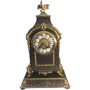 Antique French Louis XIV Style Boulle Gilt Ormolu Mantel Clock W Base Rooster Finial Napoleon