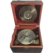 SALE Antique German Symphonium Wind Up Disc Portable Music Box W 12 Metal Discs Jay Ward Estat