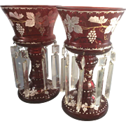 Vintage Pair Bohemian Ruby Red Cranberry Glass Enamel Mantle Lustre Lamps