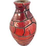 Zsolnay Pecs Hungary Art Pottery Crackle Glaze Vase Iridescent Eosin Porcelain Faience MCM