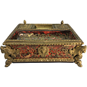 Antique 19th Century French Empire Boulle Bronze Ormolu Inkwell France Caryatid Dolphin Feet