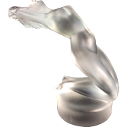 SOLD Lalique Art Glass Frosted Crystal Nude Woman Chrysis Car Mascot Paperweight France