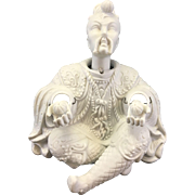SOLD Vintage Bisque Porcelain Chinese Asian Man Nodder Chinoiserie