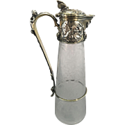 Antique Elkington Silver Plate Claret Jug Carafe Pitcher Etched Glass Crystal Aesthetic Period