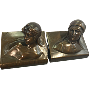1930's Jennings Brothers Bronzed Metal Bookends Beatrice Dante Pair