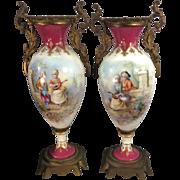 SOLD Antique French Sevres Style Porcelain Urn Vases Gilt Ormolu Bronze Painted Luigi