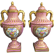 SALE Antique Pair Sevres France Porcelain Pink Gilt Cabinet Lidded Urns Vases French