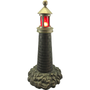 Old Bronze Lighthouse Lamp W Blinking Beacon Light Maritime
