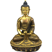 Vintage Chinese Tibetan Asian Medicine Gilded Buddha Shakyamuni Bronze Copper Sculpture