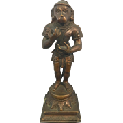 Old Hindu Bronze Hanuman Monkey God Sculpture Jay Ward Estate