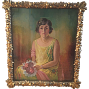 Original 1926 Nina Waldeck Painting On Canvas Young Lady W Antique Gilt Wood Frame Laurel Oak