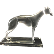Lalique Art Glass Frosted Greyhound Dog Perceval Figurine Sculpture France