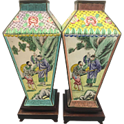 Vintage Chinese Canton Enamel Export Vases W Hardwood Stands Scholar