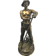 Adrien Etienne Gaudez French Artist Bronze Sculpture Faucheur Farm Boy W Sickle