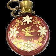 Edwardian Victorian Bohemian Cranberry Glass Chatelaine Scent Perfume Bottle
