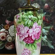 Limoges France Hand-painted Rose Porcelain Vase Lamp, artist signed