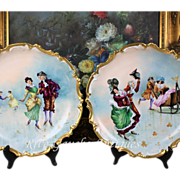 REDUCED Rare pair of 13.5'' Limoges France hand-painted plats/ chargers decorated the skating