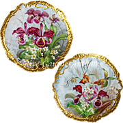 Pair 17.5'' Antique hand-painted Limoges France trays/ wall plaques, ornate gold Rococo ..
