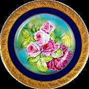 REDUCED Limoges France Hand painted Roses, Gold Encrusted Raised Gilt Cobalt Blue charger, ...