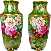"""Rare 14.75"""" tall Pair of Limoges France hand-painted roses vases, signed """"Gandois. M"""" .."""