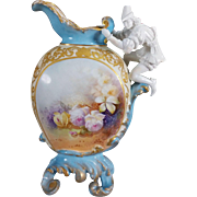 REDUCED Limoges Rare Figural Handled Ornate Vase/Ewer with hand-painted roses and heavy raised